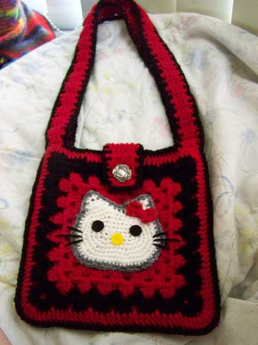 Crochet Purse Patterns Hello Kitty : Crochet Hello Kitty Purse A crochet hello kitty bag