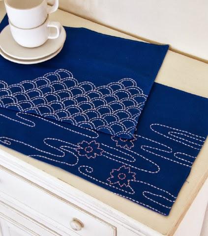 running stitch table mats