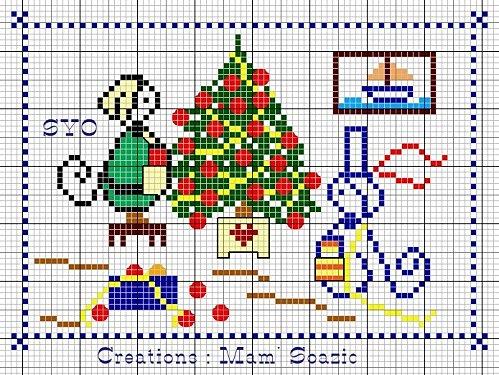 dibujo navideño a punto de cruz