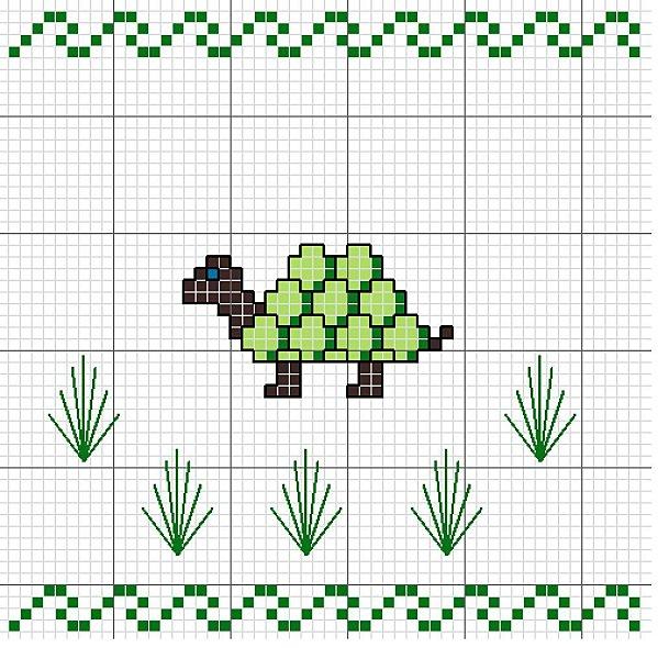 ... de una tortuga a punto de cruz para decorar tu ajuar de los niños