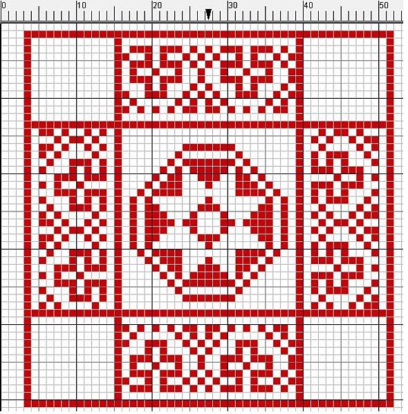 motivo geometrico rojo a punto de cruz