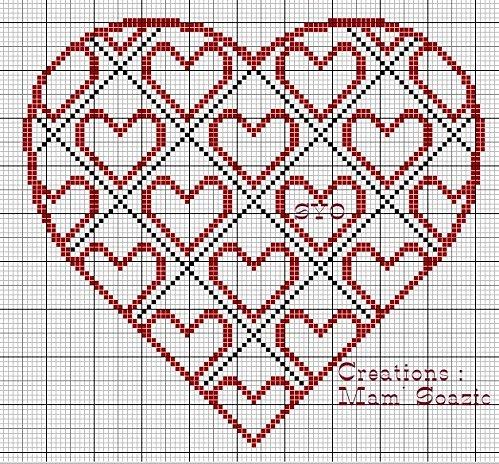 Un corazón estilizado a punto de cruz con rayas rojas y negros. El