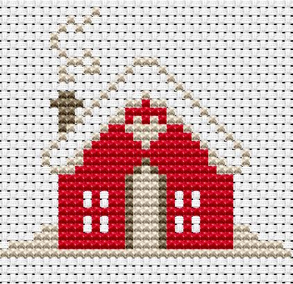 Esquema Punto de Cruz – Casa con Nieve