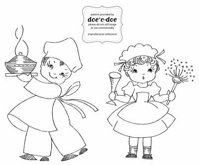 cuoco e cameriera da ricamare