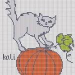 Halloween – Gatto con Zucca da Ricamare a Punto Croce