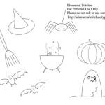 Halloween da Ricamare a Punto Erba e Punto Catenella
