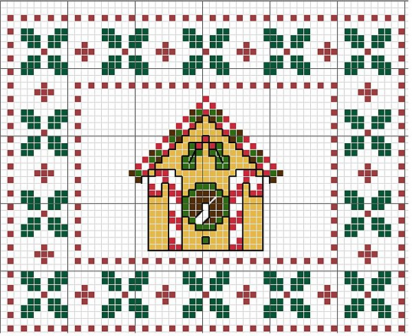 casetta natalizia a punto croce