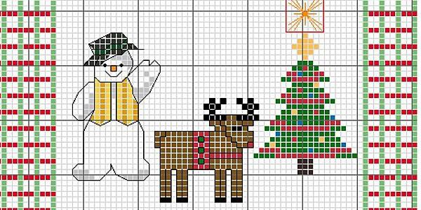 Ricami Natalizi a Punto Croce: Renna – Omino di Neve e Albero di Natale