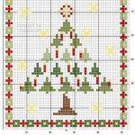 Albero di Natale Stilizzato da Ricamare a Punto Croce