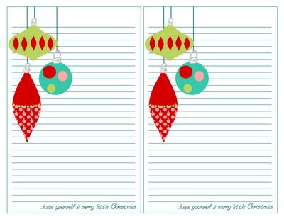 carta da lettere natalizia