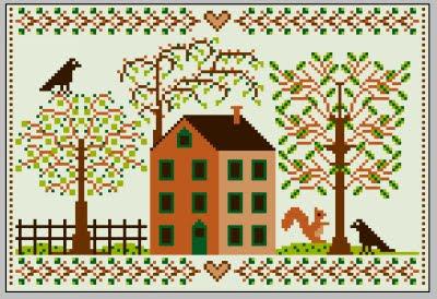 casa d'autunno a punto croce