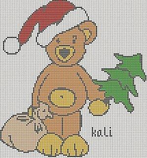 orsetto natalizio a punto croce