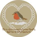 San Valentino – Cuore con Pettirosso a Punto Croce