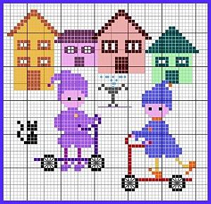 Bambini che giocano schema di ricamo a punto croce for Ricamo punto croce bambini