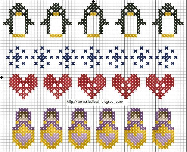 bordura a punto croce con cuori, matrioske e pinguini