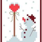 Omino di Neve con Cuore da Ricamare a Punto Croce