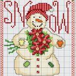 Punto Croce – Omino di Neve con Stelle di Natale