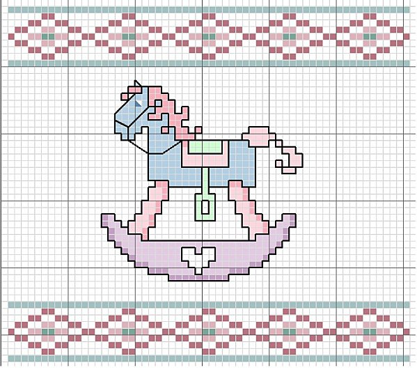 Schema di ricamo per bambini cavallino a dondolo arte for Immagini punto croce per bambini