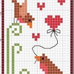 Schema a Punto Croce per San Valentino – Uccellini con Cuore