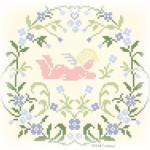 Angioletti a Punto Croce con Bordure Floreali