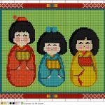 Schema di Ricamo – Bambole Kokeshi a Mezzo Punto