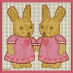 Schema di Ricamo per Bambini – Coniglietti a Punto Croce