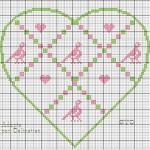 Punto Croce Schema di Ricamo – Cuore con Uccellini