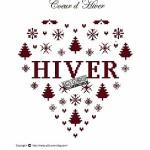 Punto Croce Schema di Ricamo – Cuore con Paesaggio Invernale