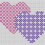Schema di Ricamo  San Valentino – Cuori Rosa e Blu