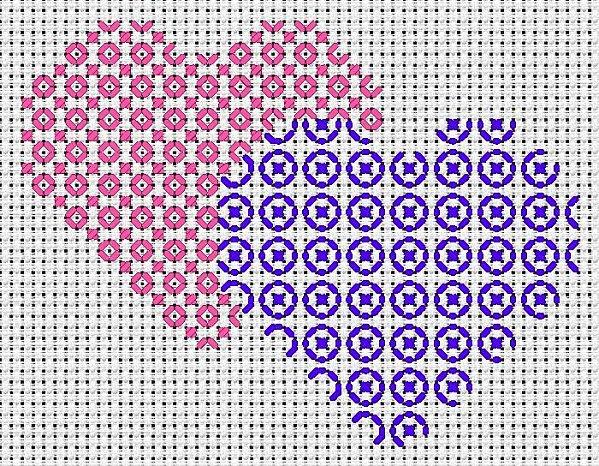 cuori a punto croce rosa e blu