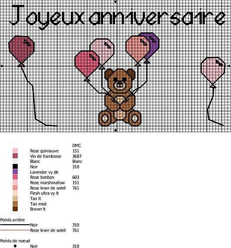 Schema di ricamo per bambini orsetto con palloncini a for Ricamo punto croce bambini