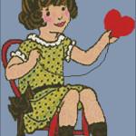 Schema di Ricamo Vintage a Punto Croce per San Valentino