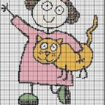 Schema a Punto Croce – Bambina con Gatto