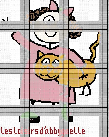 bambina con gatto schema punto croce