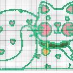 Punto Croce Schema di Ricamo – Gatto Verde e Rosa