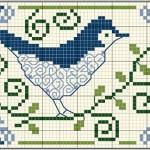 Schema a Punto Croce – Puntaspilli con Uccellino Monocolore