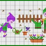 Schema di Ricamo per Bambini – Elfi in Giardino