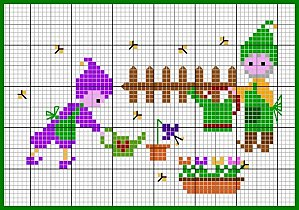Punto Croce Bambini - Elfi in Giardino