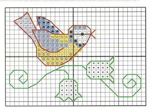 Schema di ricamo uccellino con rametto di fiori arte - Disegni a punti ...