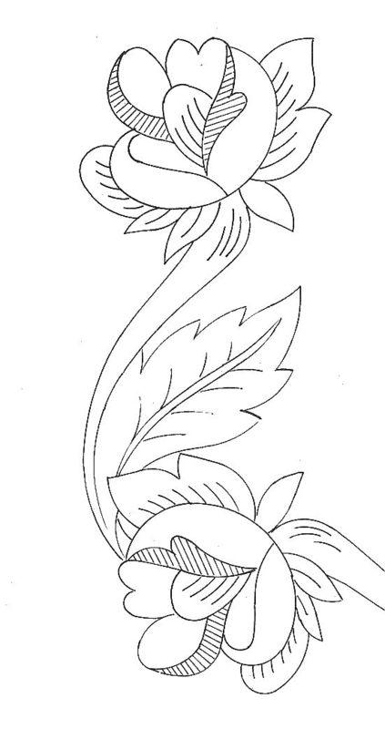 Disegni di bordure con rose per ricamo arte del ricamo for Disegni facili da riprodurre