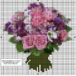 Schema di Ricamo a Punto Croce – Bouquet di Fiori
