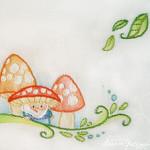 Disegno per Ricamare il Corredino dei Bambini – Elfi e Funghi