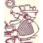 Decorare gli Asciugapiatti a Punto Croce – Bambina in Cucina