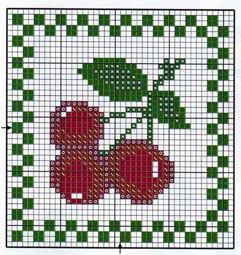 I migliori schemi di ciliegie a punto croce parte prima arte del ricamo - Disegni punto croce per tovaglie da tavola ...