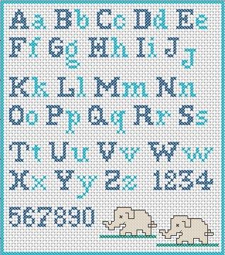Ricamare lettere dell alfabeto a punto croce schemi for Schemi punto croce alfabeto bambini