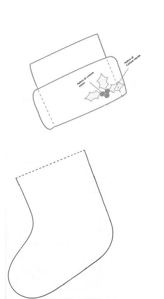 la sagoma della calza, cucire a punto filza le due parti della calza