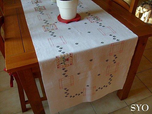 Motivi a punto croce per corsia da tavolo arte del ricamo - Stoffe per tovaglie da tavola ...