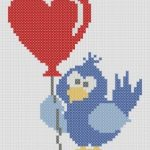 Schema Punto Croce San Valentino – Uccellino con Cuoricino