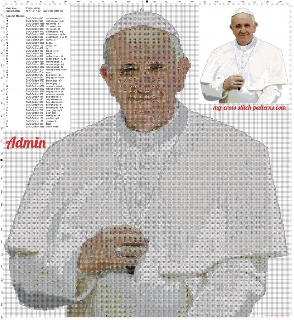 Schema Punto Croce – Papa Francesco