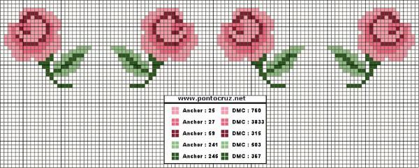 boccioli di rose punto croce